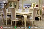 Meja Makan Jepara Mewah Minimalis Duco Ivory Model Terbaru Piyano ST-0603