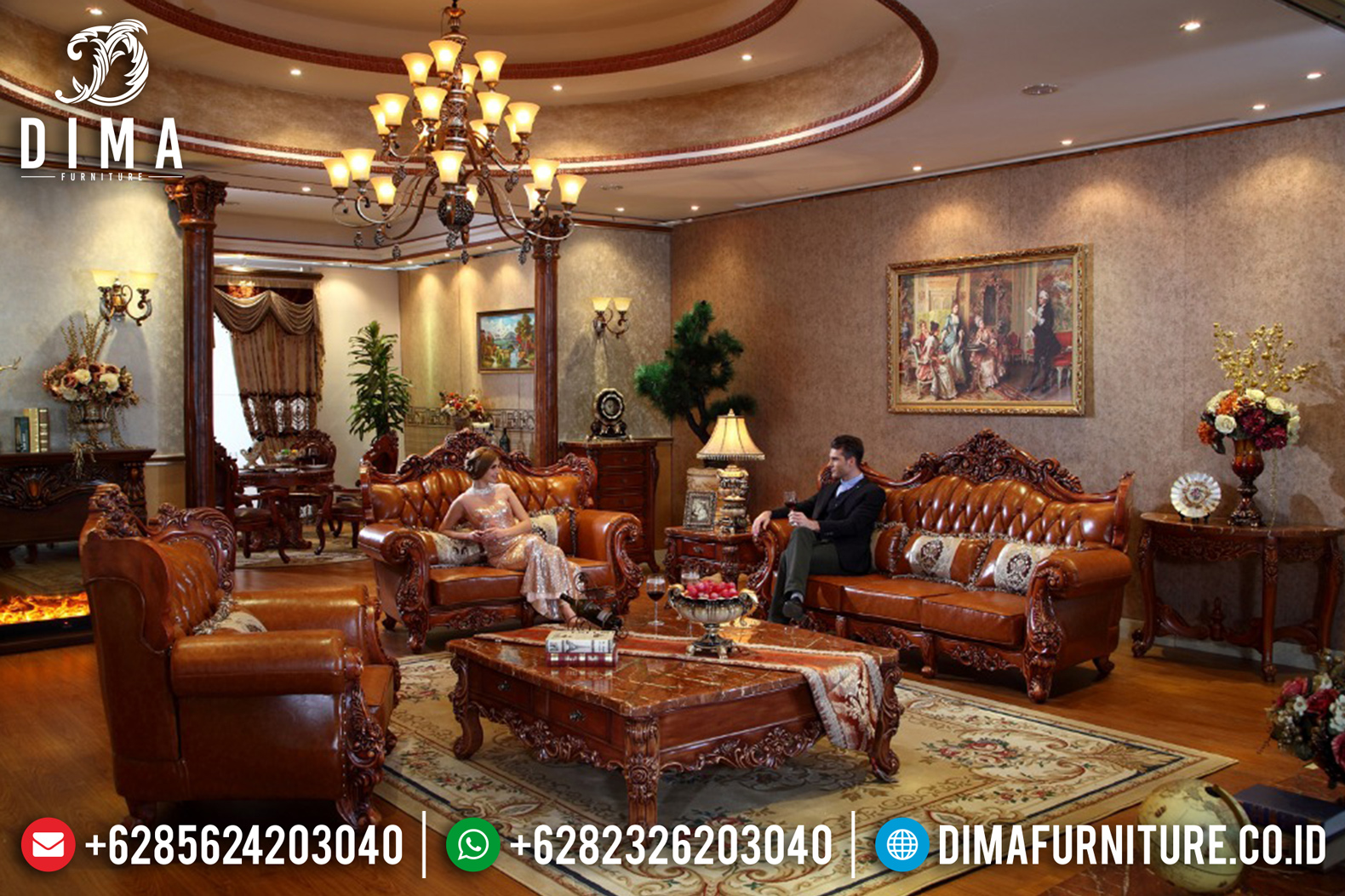 Luxury Italian Furniture Sofa Tamu Jepara Mewah Klasik Natural ST-0614