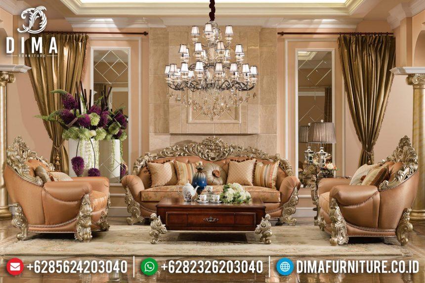 Sofa Tamu Jepara Mewah Ukiran Klasik Duco Emas Terbaru ST-0611
