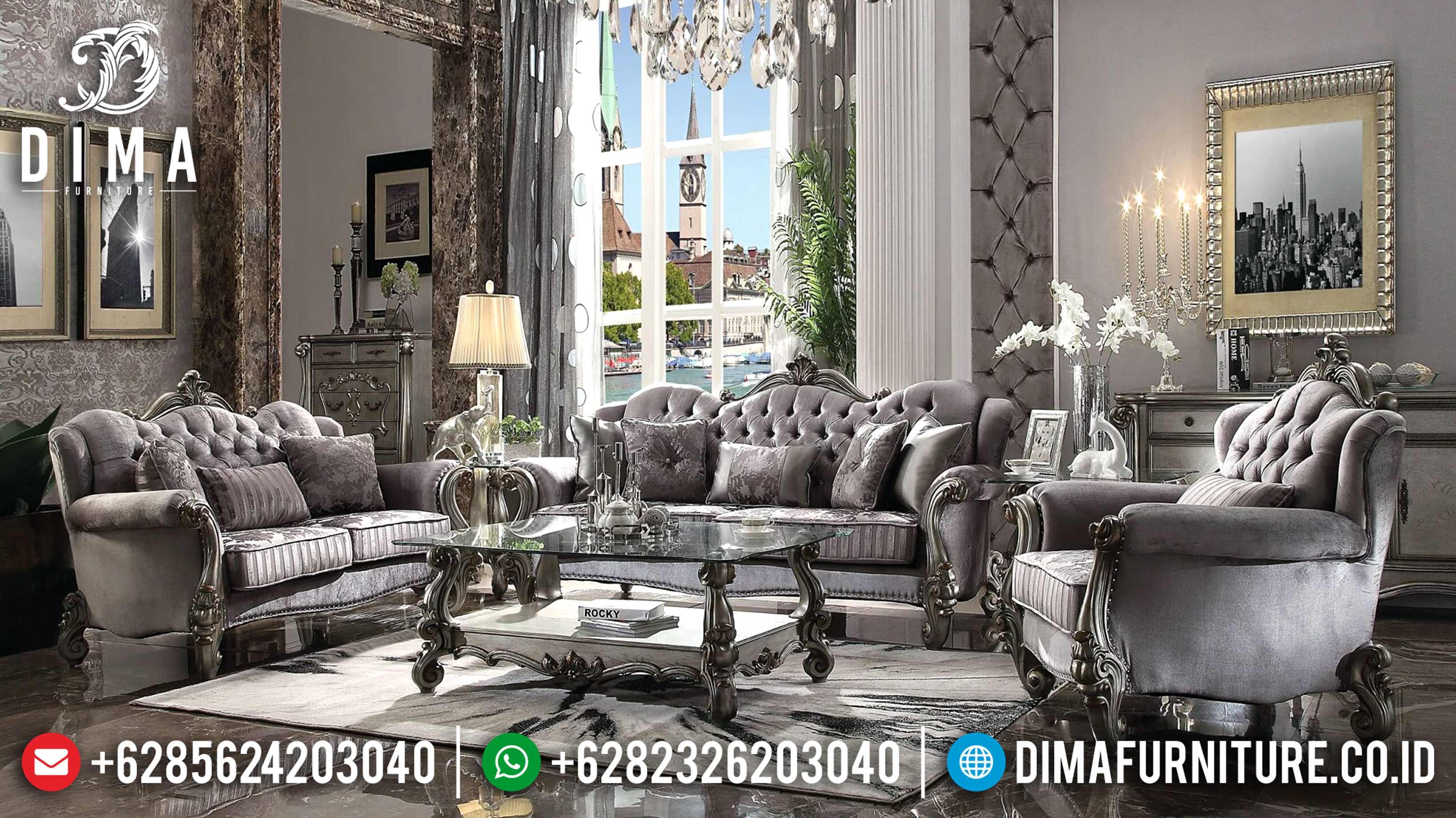 Versailles Velvet Sofa Tamu Jepara Mewah Classic Silver Terbaru ST-0615