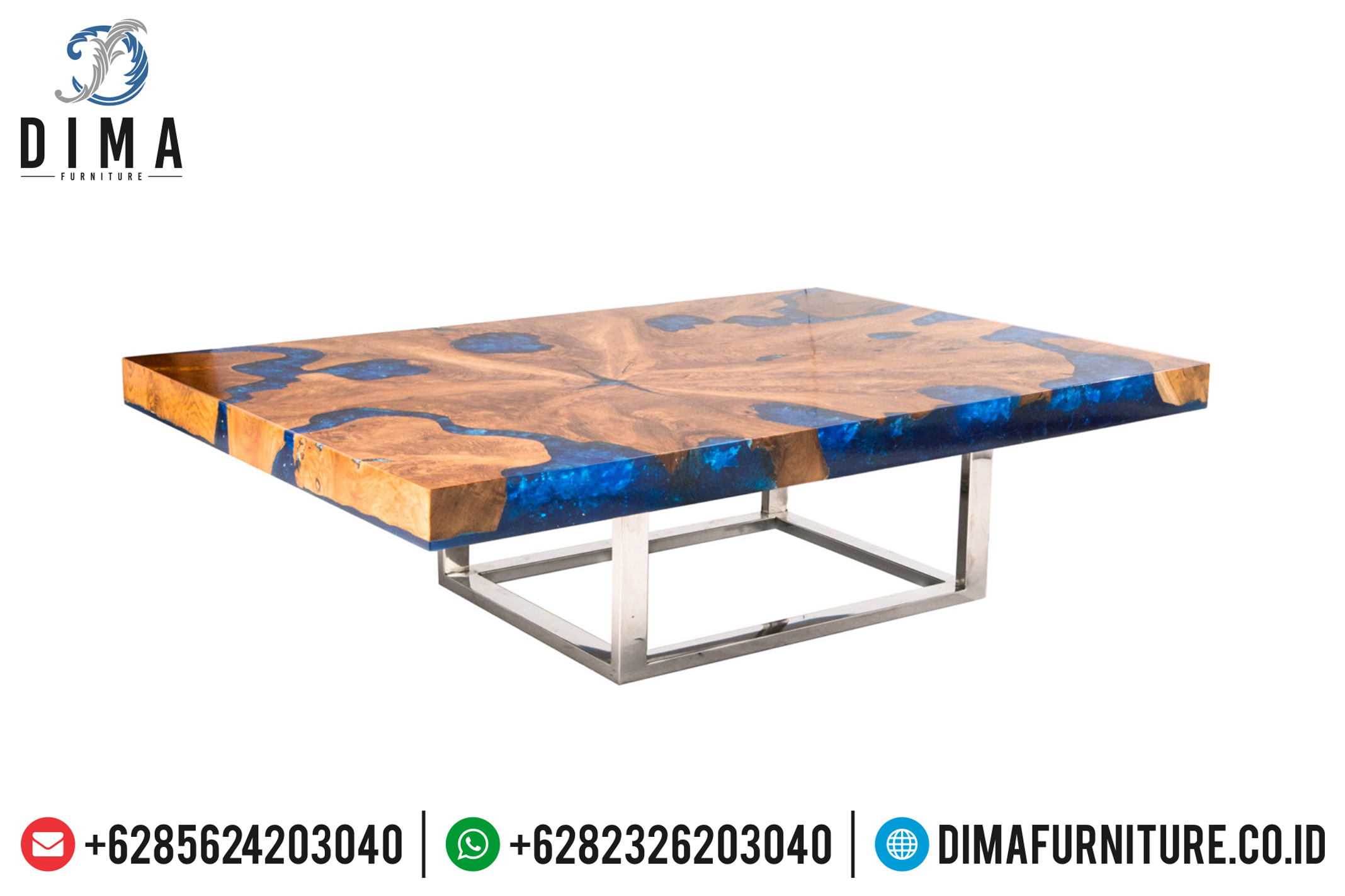 Meja Tamu Resin Biru, Jual Meja Resin Terbaru, Resin Furniture Indonesia ST-0643
