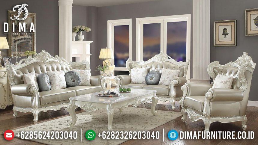 Set Kursi & Sofa Tamu Jepara Mewah Duco Putih Mutiara Terbaru Erigeron ST-0638