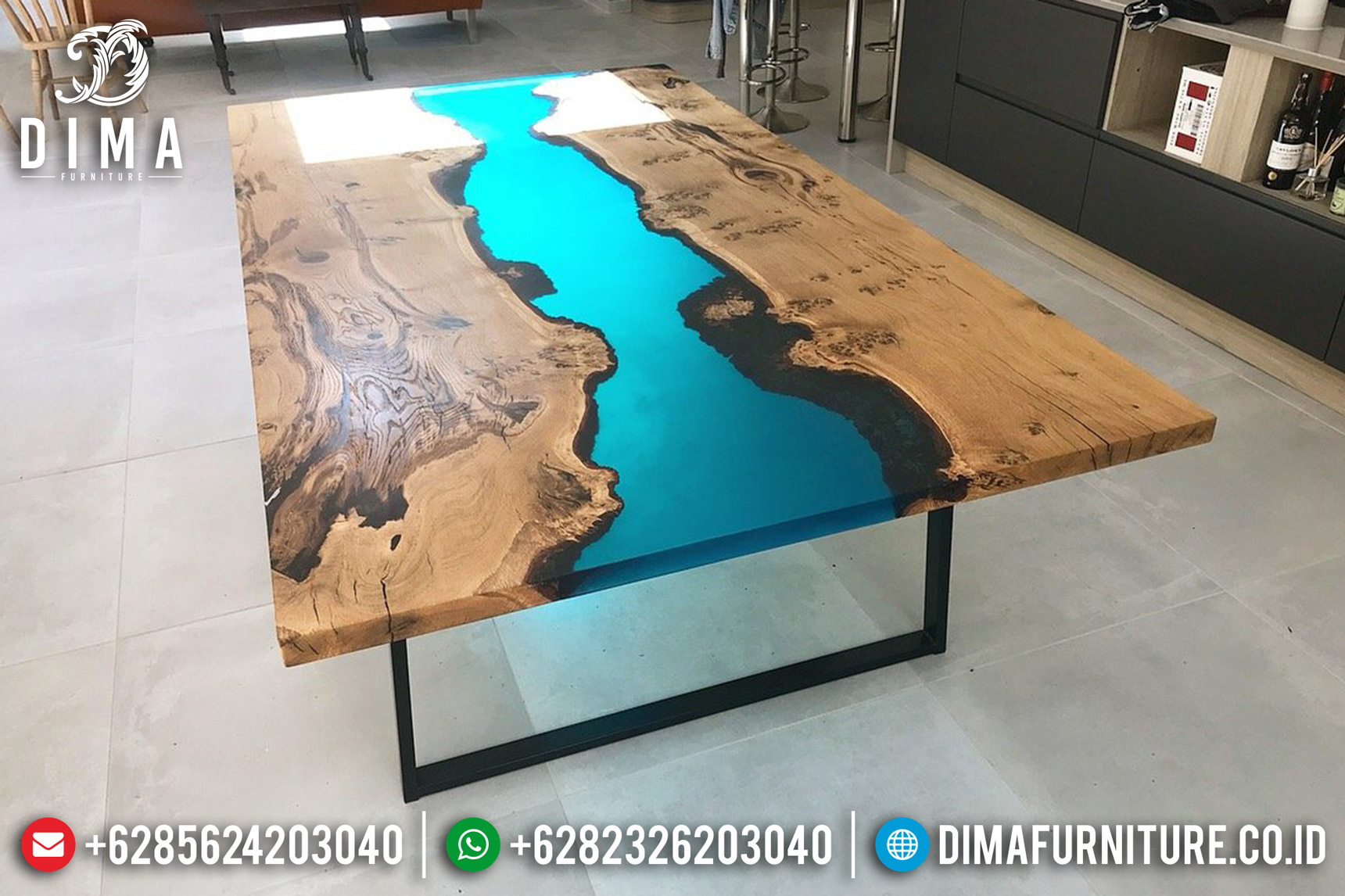 Meja Resin Minimalis Industrial, Furniture Indonesia, Resin Furniture ST-0647