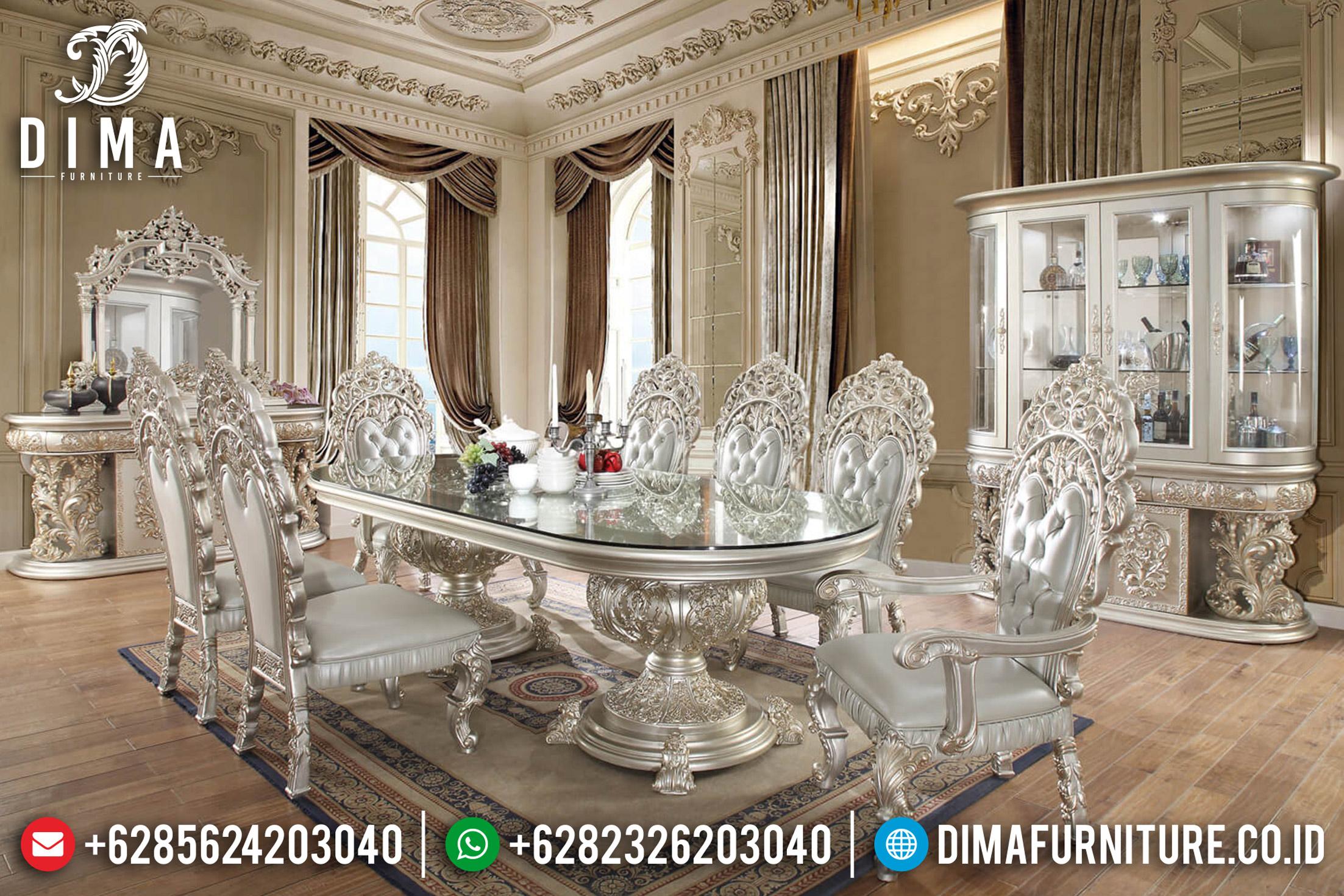 Set Meja Makan Mewah, Ruang Makan Sultan, Kursi & Meja Makan Jepara ST-0651