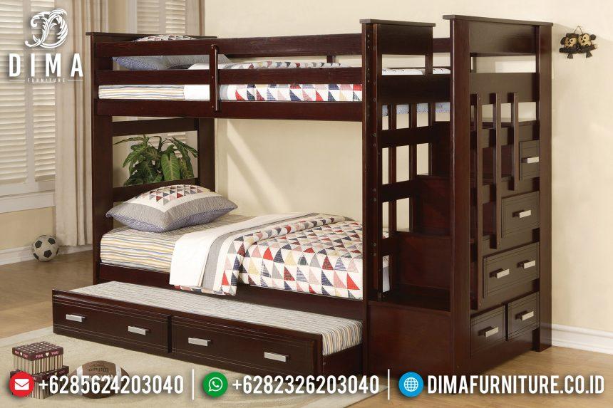 Tempat Tidur Anak Tingkat Minimalis 5 Laci Jati Jepara Anthony ST-0661