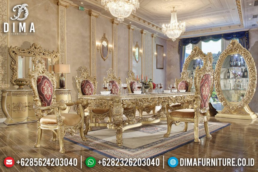 Classic Furniture Set Meja Makan Mewah Ukiran Jepara Rose Gold ST-0671