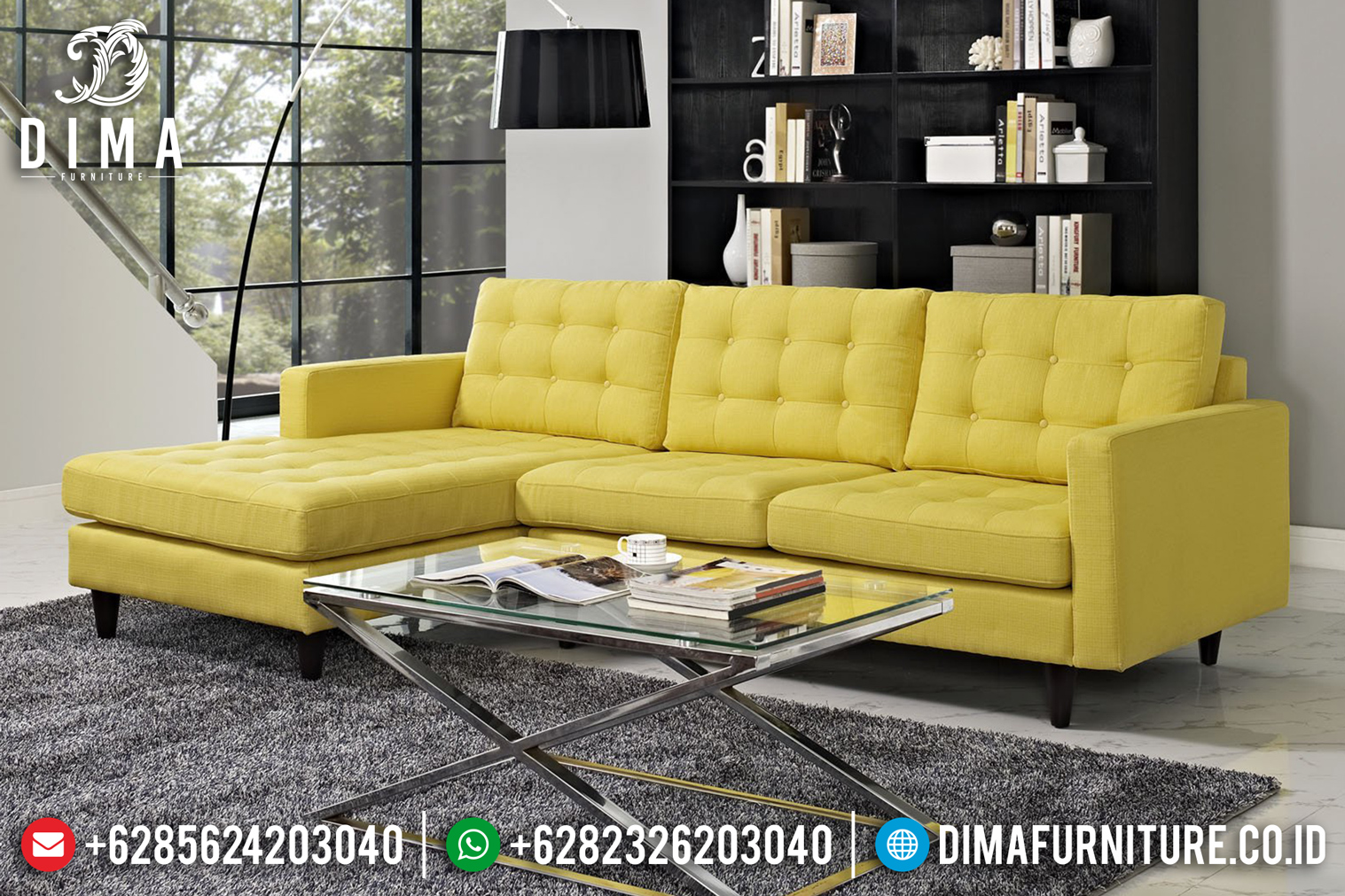 Model Warren Set Sofa Tamu Minimalis Jepara Mewah Cover Kuning ST-0666