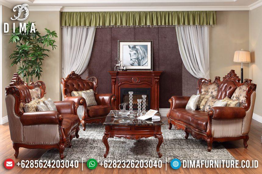 Terlaris Set Sofa Tamu Jepara Mewah Jati Ukiran Klasik Natural PU ST-0674