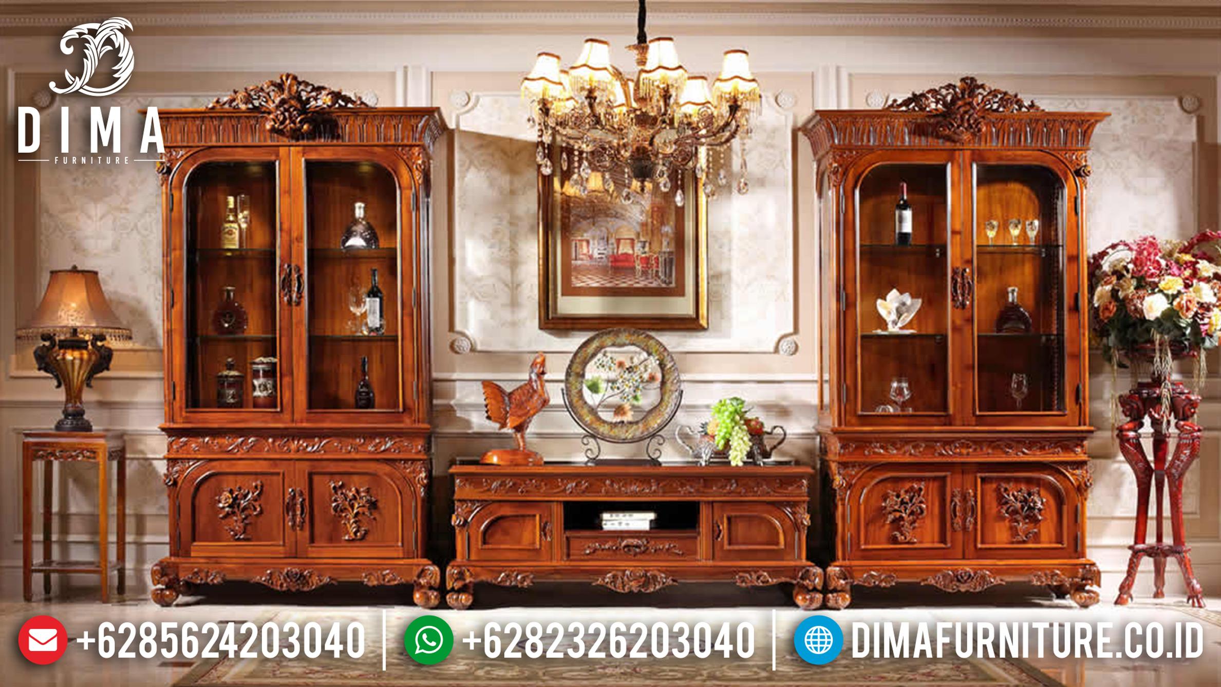 Set Bufet Tv Jati Natural Mewah Klasik Terbaru ST-0750