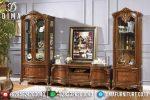 Set Bufet Tv Jati Ukir Natural Mewah Terbaru ST-0752
