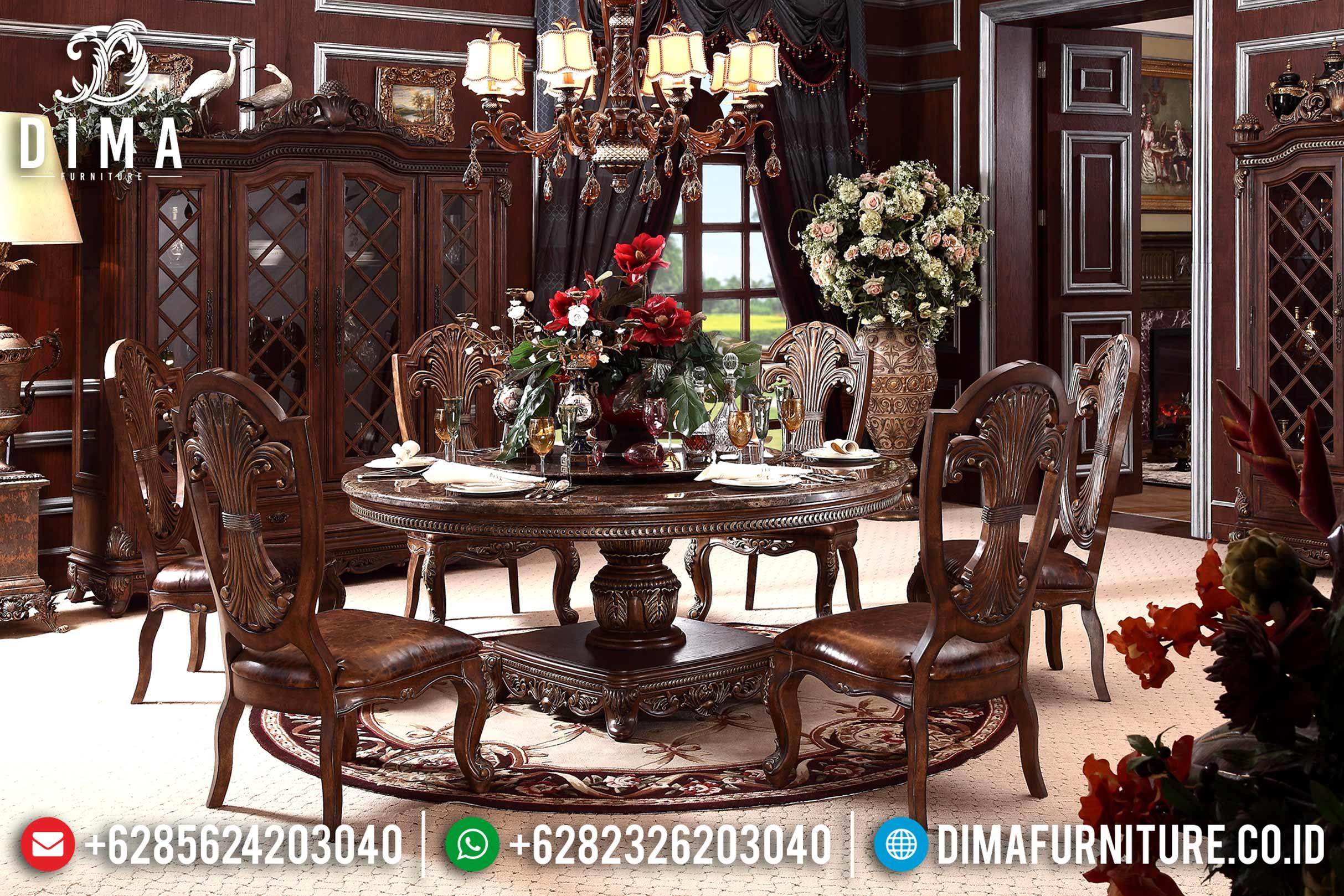 Set Meja Makan Jati Bundar Klasik Mewah Terbaru ST-0707