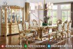 Set Meja Makan Mewah Oval Ukir Jepara Terbaru ST-0695