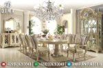 Set Meja Makan Oval Mewah Ukir Jepara Terbaru ST-0758