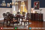 Set Meja Makan Ukir Jati Natural Klasik Terbaru ST-0716