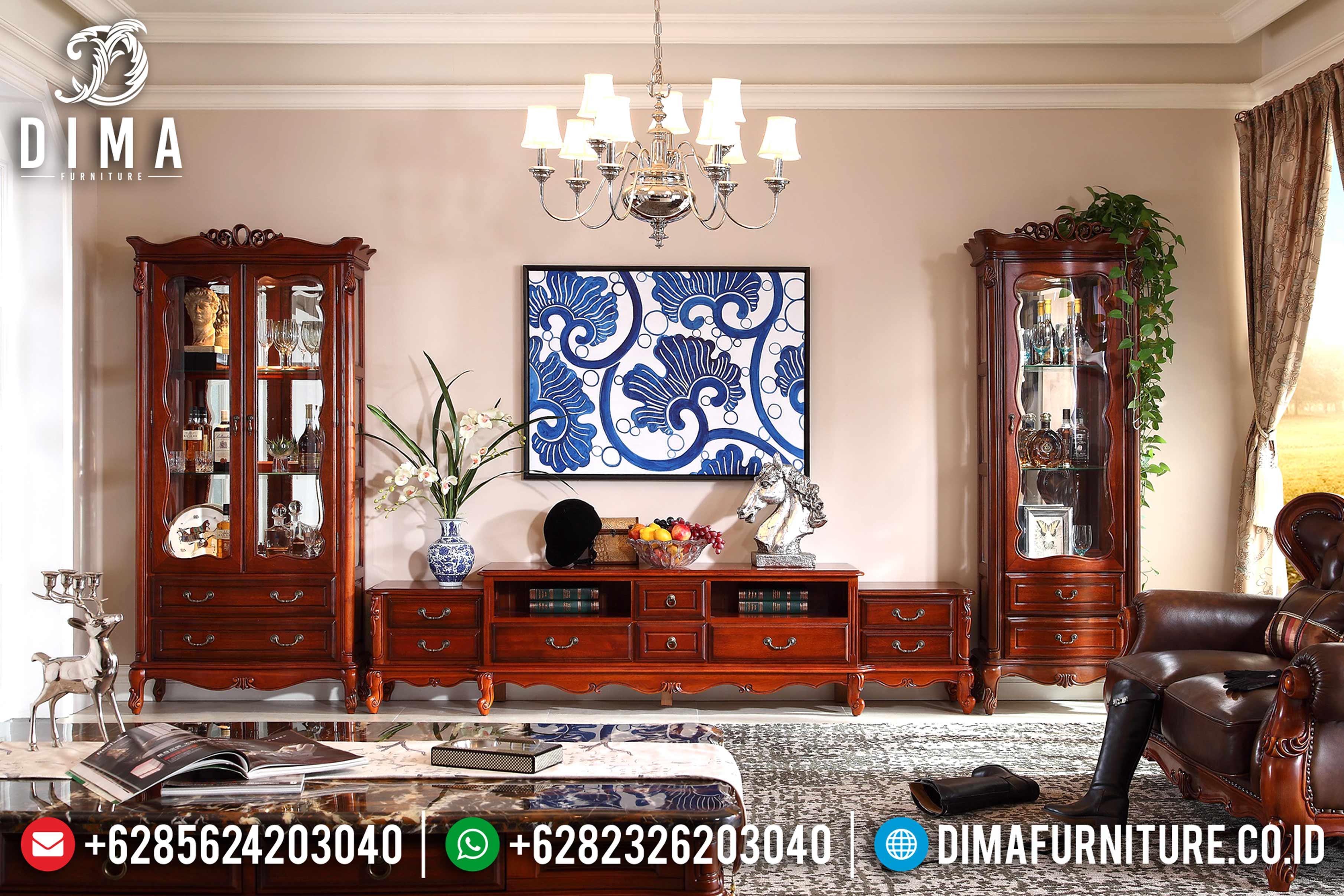 Set Bufet Tv Jati Modern Natural Mewah Terbaru ST-0807