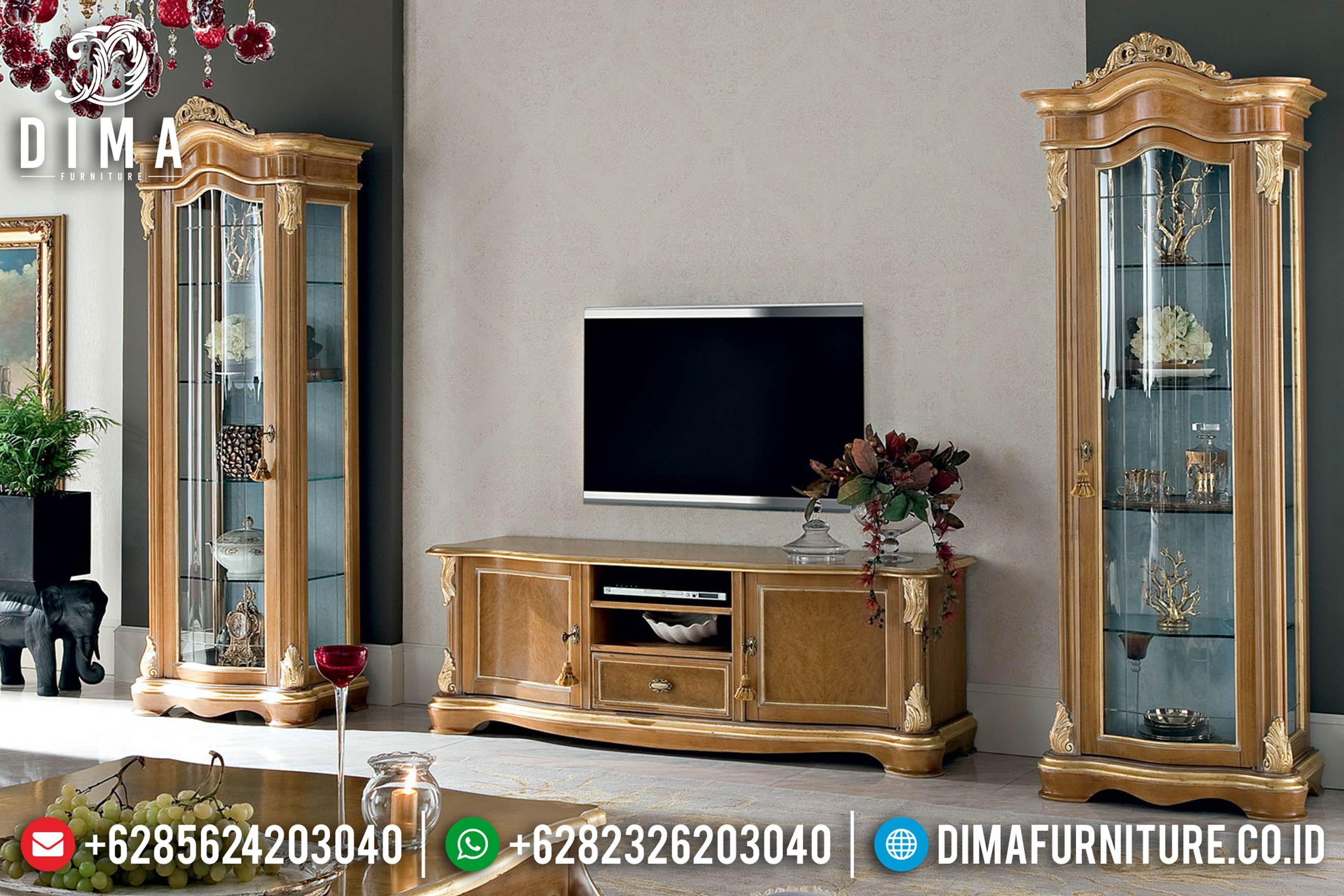 Set Bufet Tv Klasik Jati Natural Mewah Terbaru ST-0766