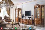 Set Bufet Tv Klasik Mewah Kayu Jati Jepara Terbaru ST-0802