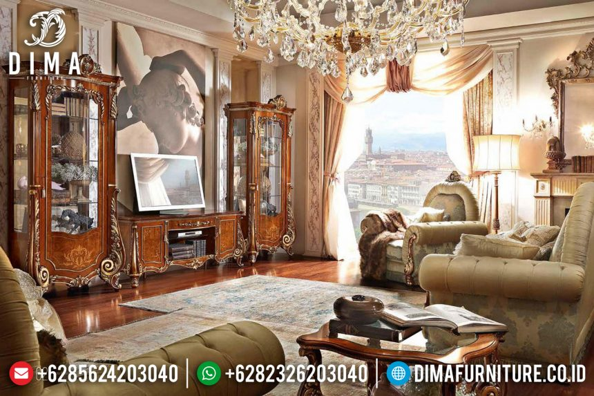 Set Bufet Tv Klasik Ukiran Jepara Jati Mewah Terbaru ST-0775