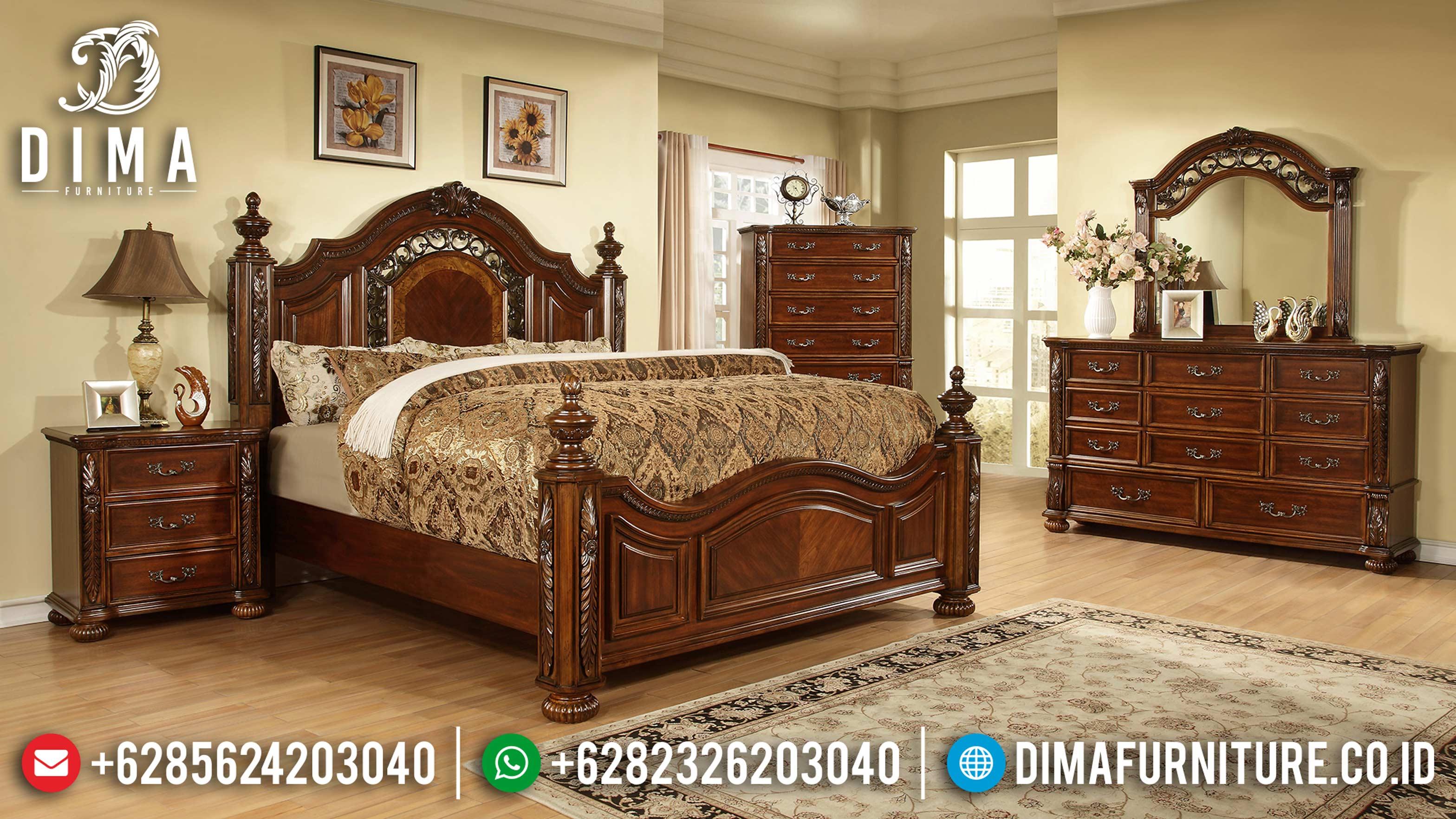 Set Kamar Tidur Jati Mewah Minimalis Modern Terbaru ST-0820