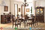 Set Meja Kursi Makan Jati Mewah Modern Terbaru ST-0785