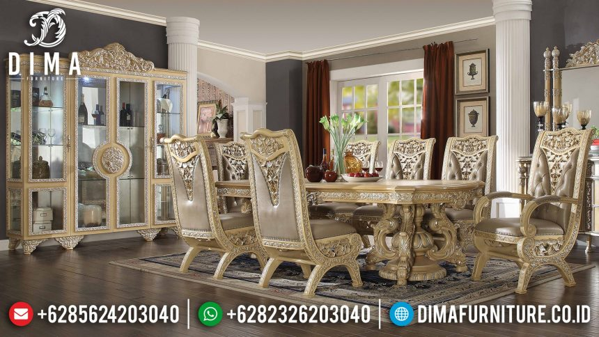 Set Meja Kursi Makan Mewah Ukir Minerva Terbaru ST-0827