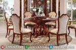 Set Meja Makan Jati Bundar Klasik Modern Terbaru ST-0786