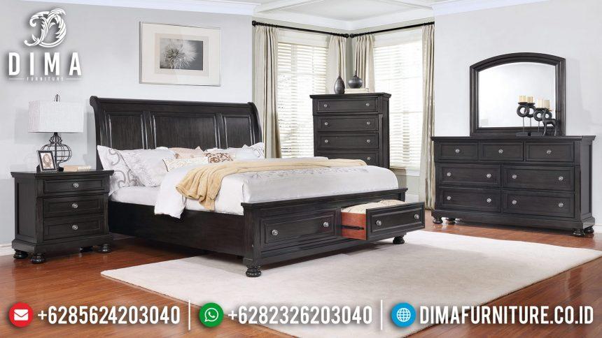 Set Tempat Tidur Jati Minimalis Natural Terbaru ST-0819