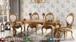 Set Meja Kursi Makan Duco Emas Klasik Ukiran Terbaru ST-0843