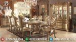 Set Meja Makan Oval Mewah Duco Emas Klasik Terbaru ST-0855