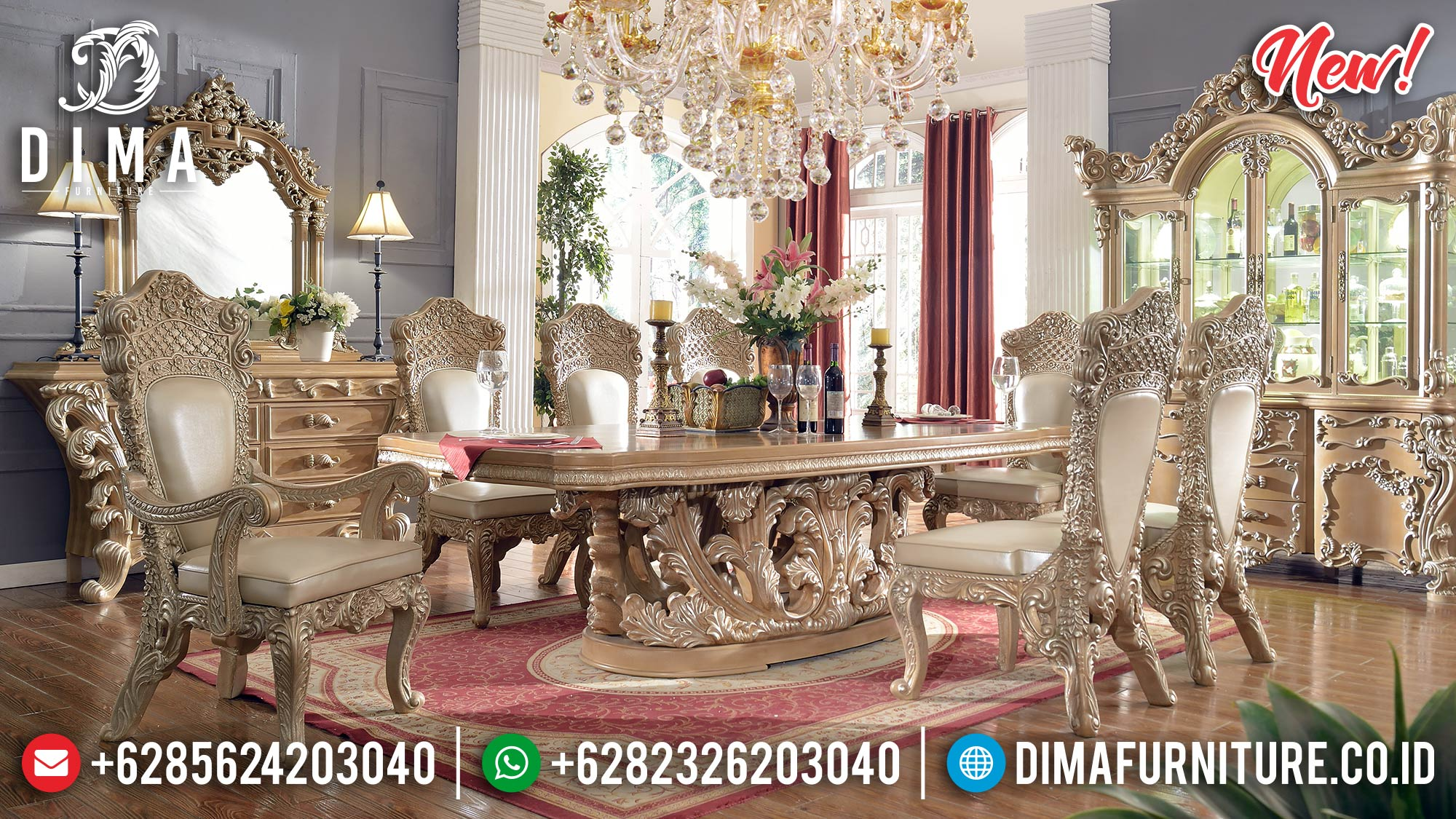 New Model Set Meja Makan Mewah Kingdom Style ST-0874