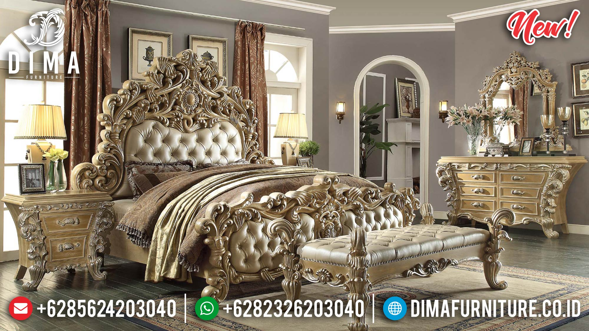 New Set Tempat Tidur Jepara Ornamen Ukir Klasik ST-0867