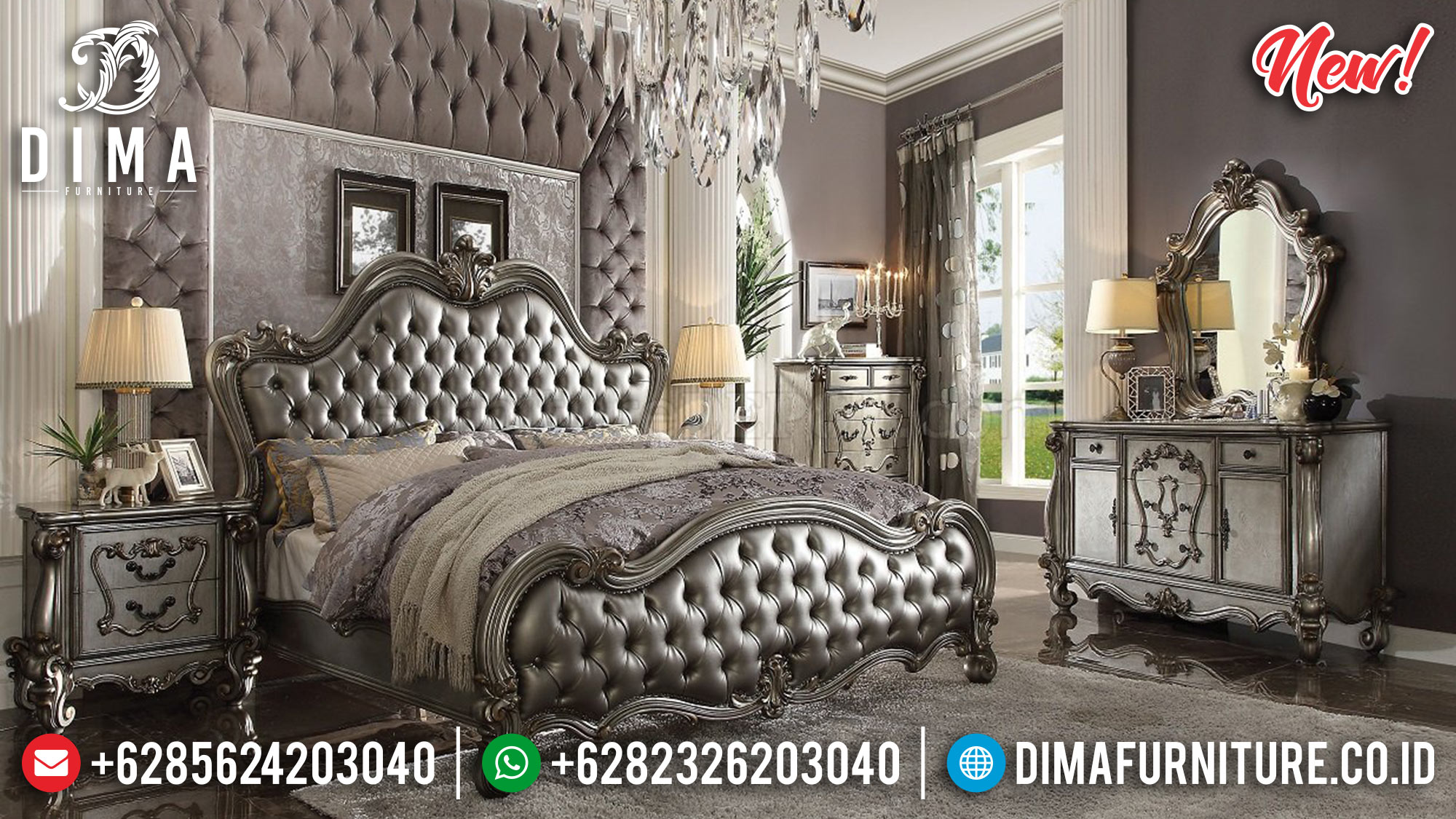 Super Luxury Kamar Set Mewah Victorian Silver ST-0869