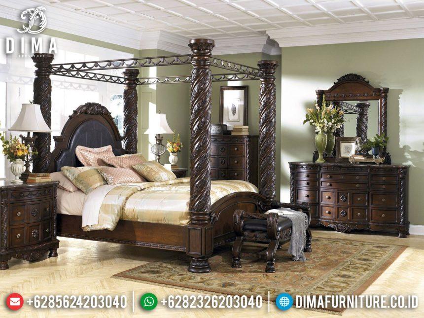 Desain Tempat Tidur Jati Jepara Konsep Minimalis Ukiran Classic ST-0882