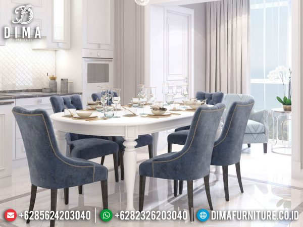 Best Seller Meja Makan Minimalis Modern Soft Beludru Fabric Luxury Mebel Jepara ST-0956