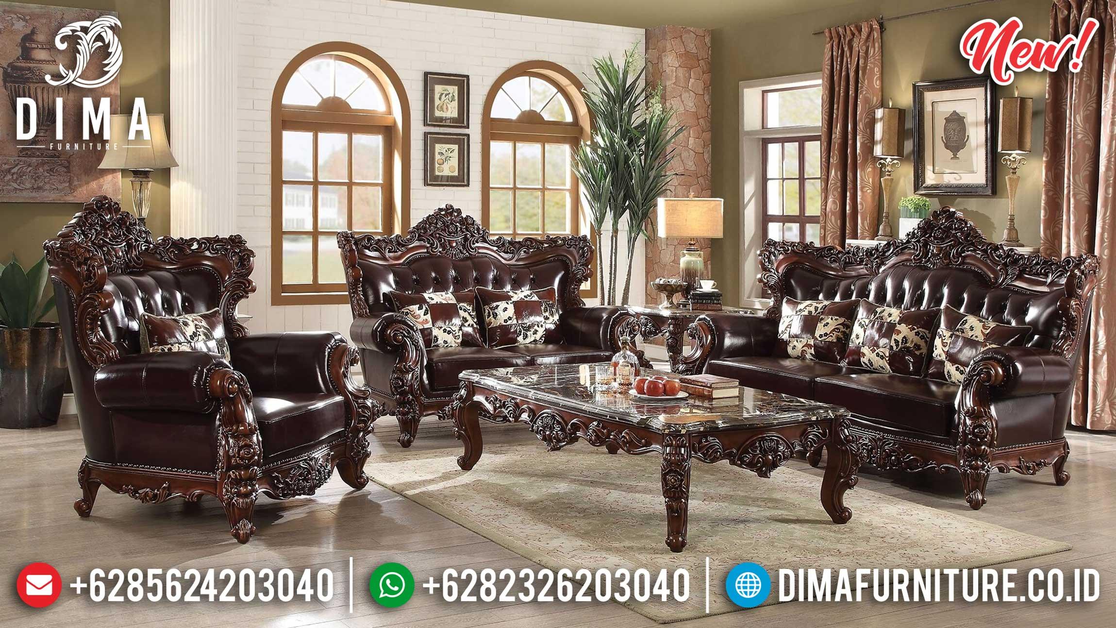 Classic Style Sofa Tamu Mewah Jati Natural Luxury Carving Furniture Jepara ST-0983