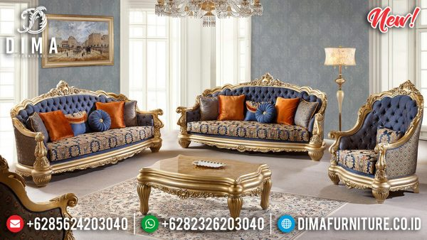 Elegant Model Sofa Tamu Mewah Luxury Golden Leaf Color New Carving Style ST-0985