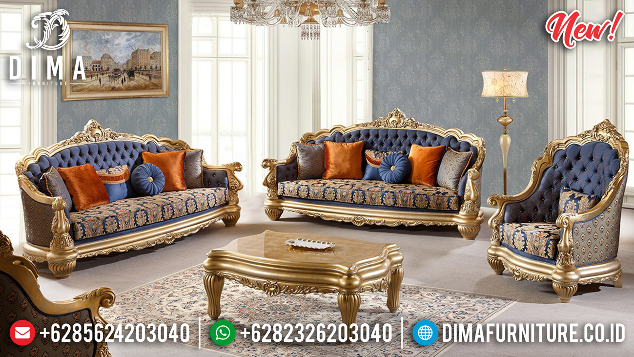 Elegant Model Sofa Tamu Mewah Luxury Golden Leaf Color New Carving Style ST-0985