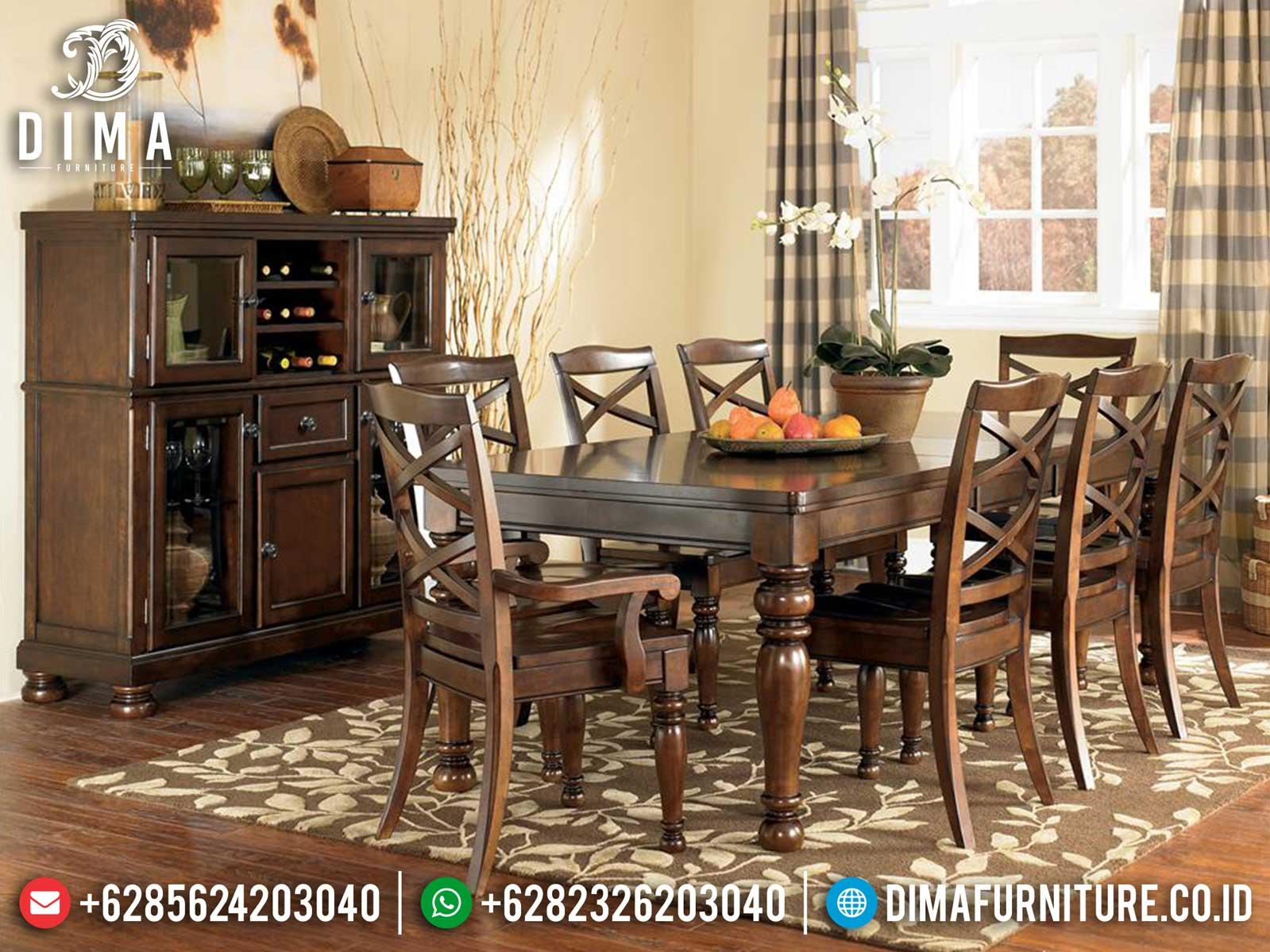 Elegant Style Meja Makan Minimalis Jati Klasik Natural Color New Design Mebel Jepara ST-0933