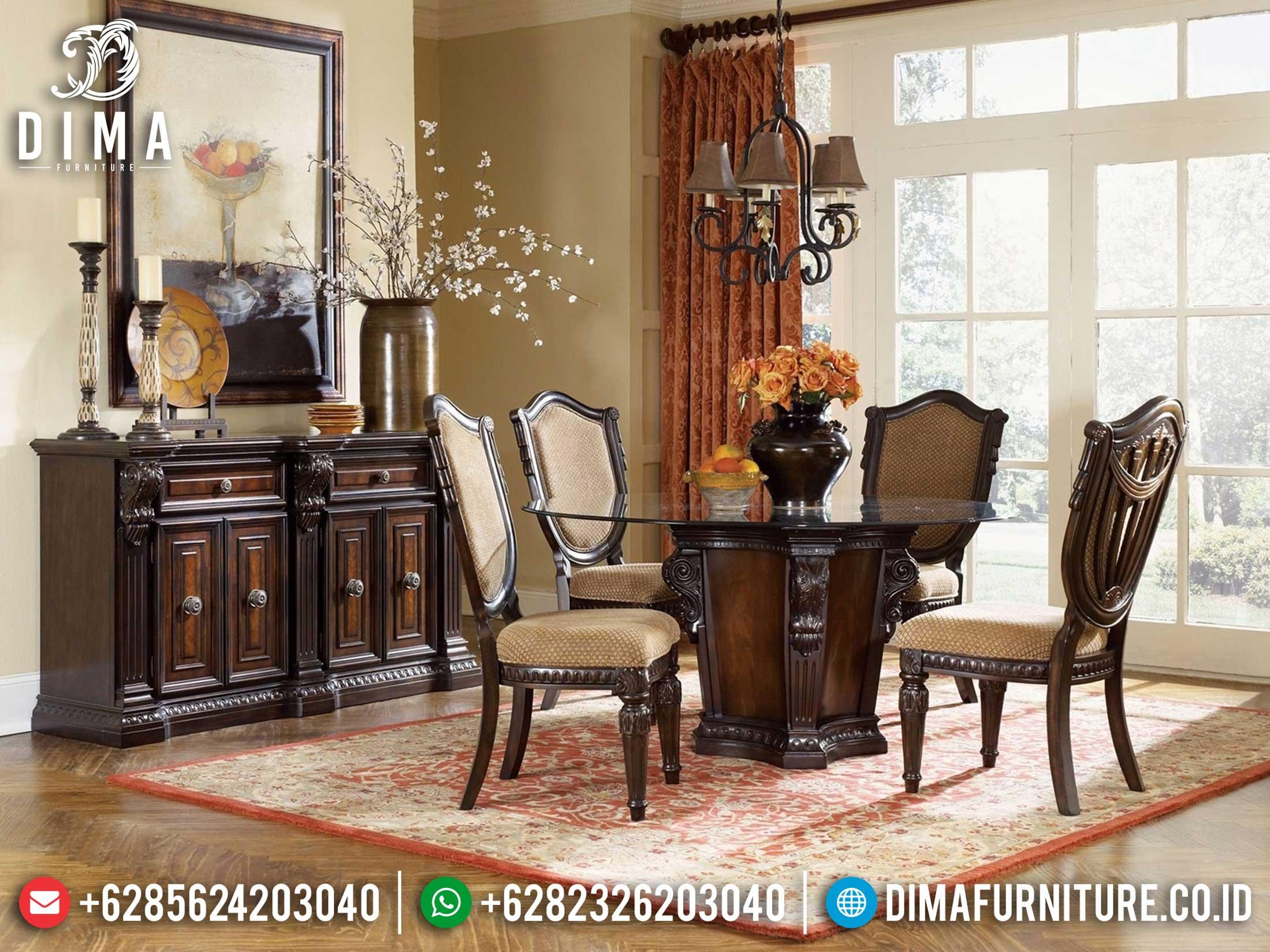Fabio Meja Makan Jati Bundar Minimalis Luxury Carving Natural Salak Brown ST-0934