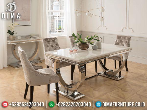 Great Design Meja Makan Minimalis Modern New Model Stainless Steel Luxury Jepara ST-0959