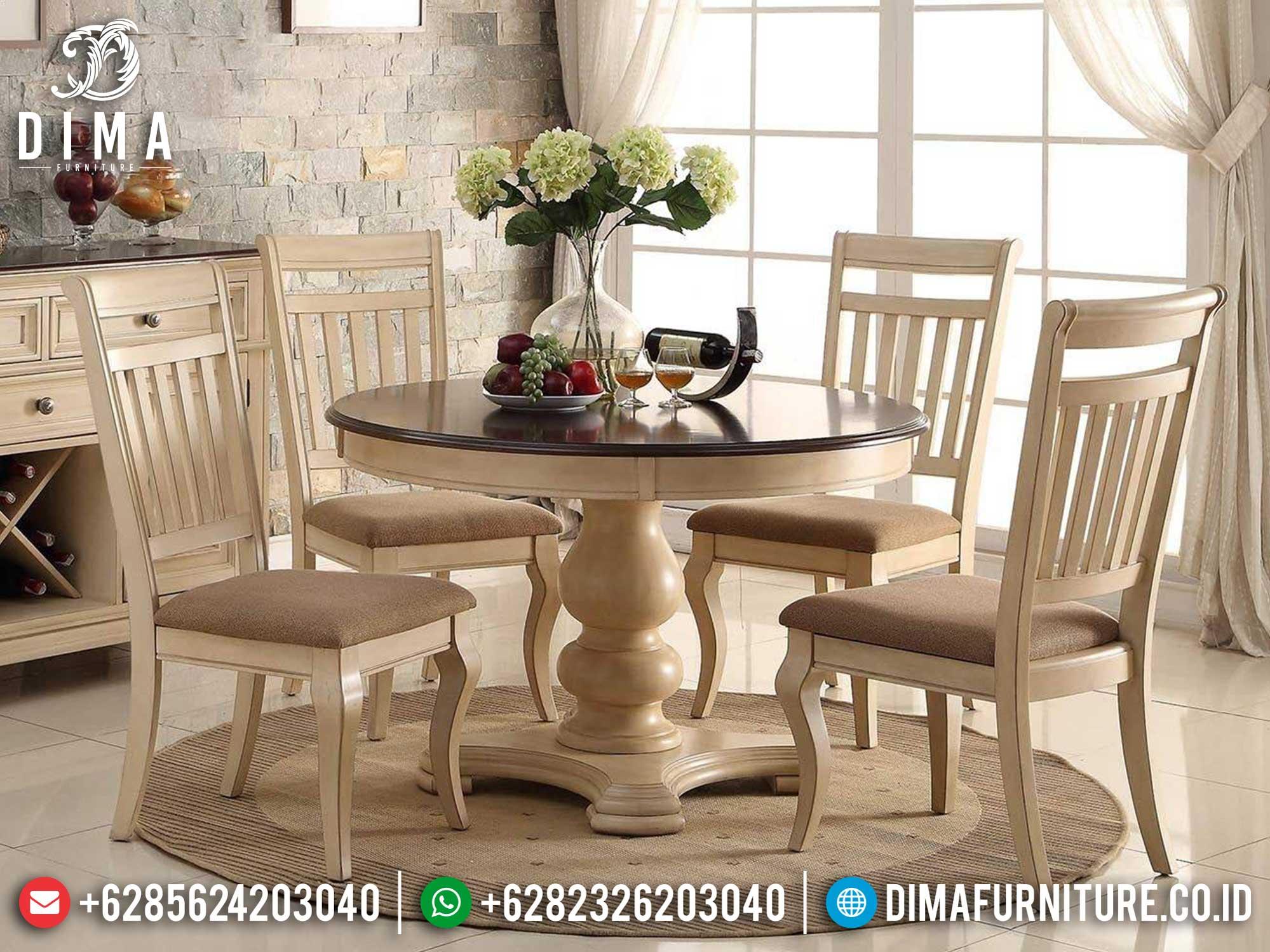 Jual Meja Makan Bundar Minimalis Classic Luxury Simple Design Mebel Jepara ST-0952