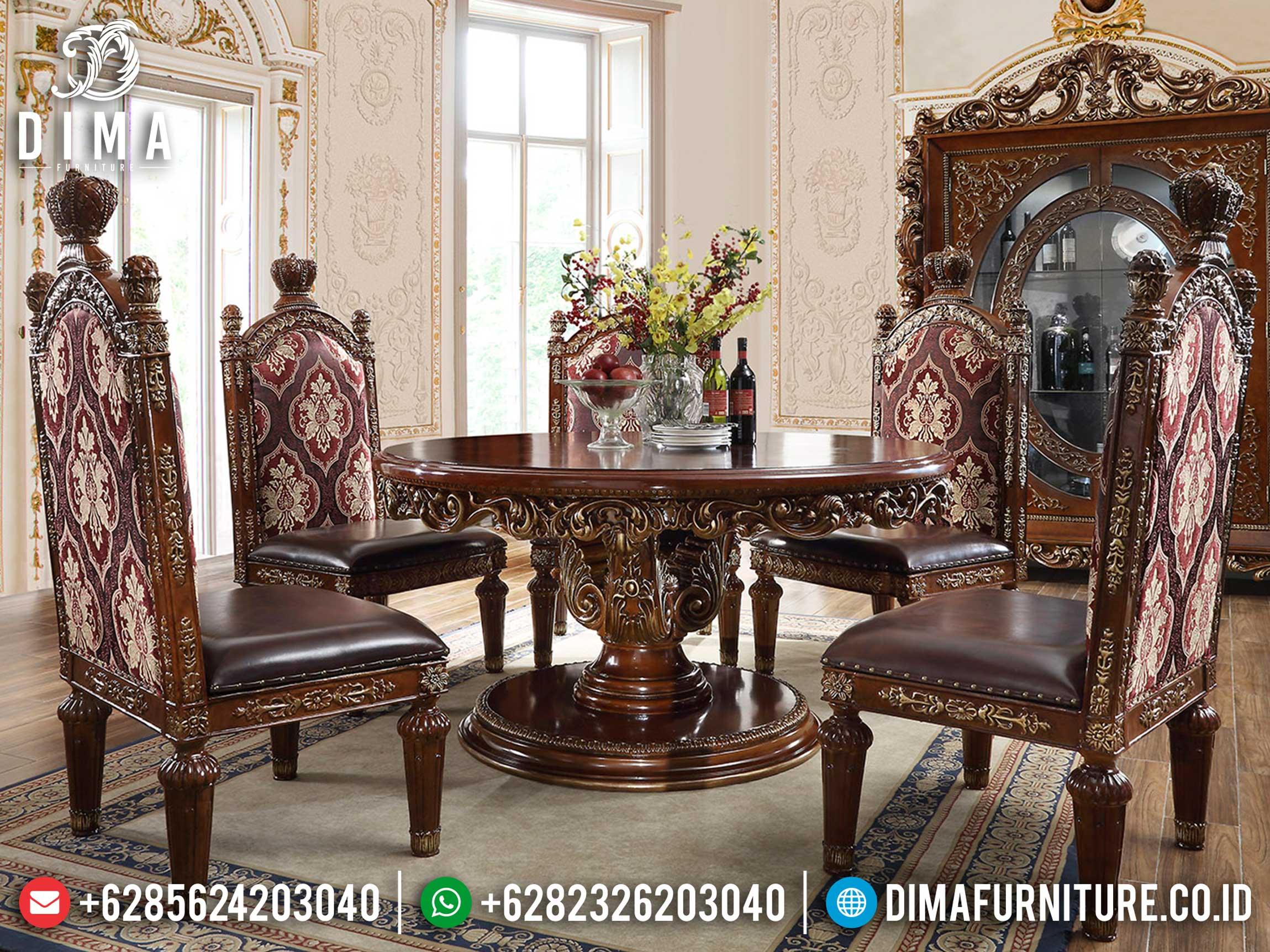 Meja Makan Mewah Bundar Luxury Carving Natural Jati Classic Furniture Jepara ST-0961