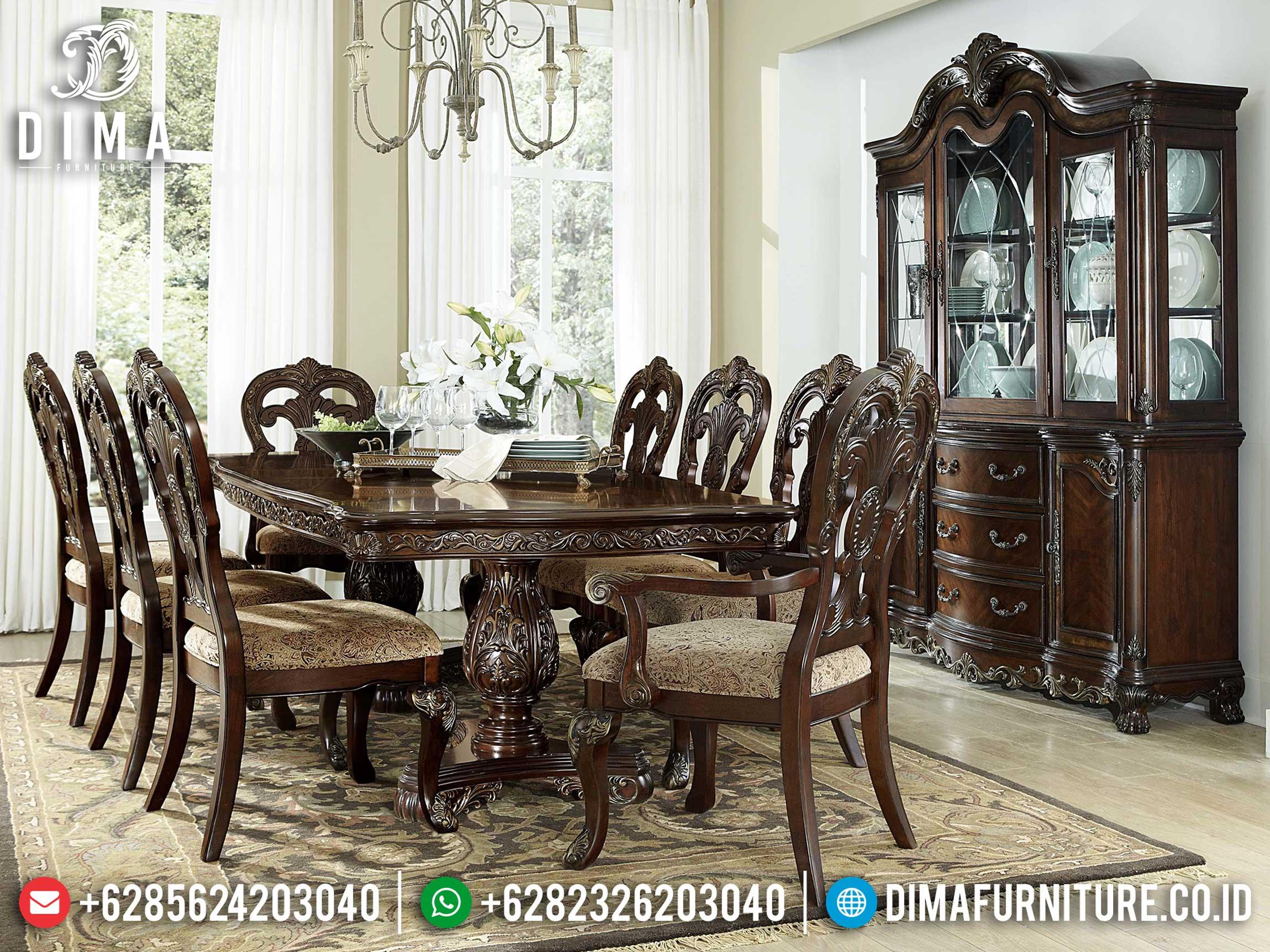 Meja Makan Minimalis Klasik Luxury Carving Best Seller Product Jepara ST-0931
