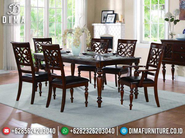 Meja Makan Minimalis Kursi 6 Natural Jati Luxury Carving Jepara ST-0924