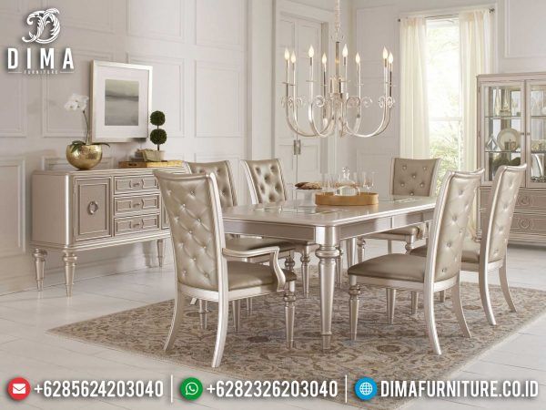 Meja Makan Minimalis Luxury Champagne Color New Simple Design Jepara ST-0937