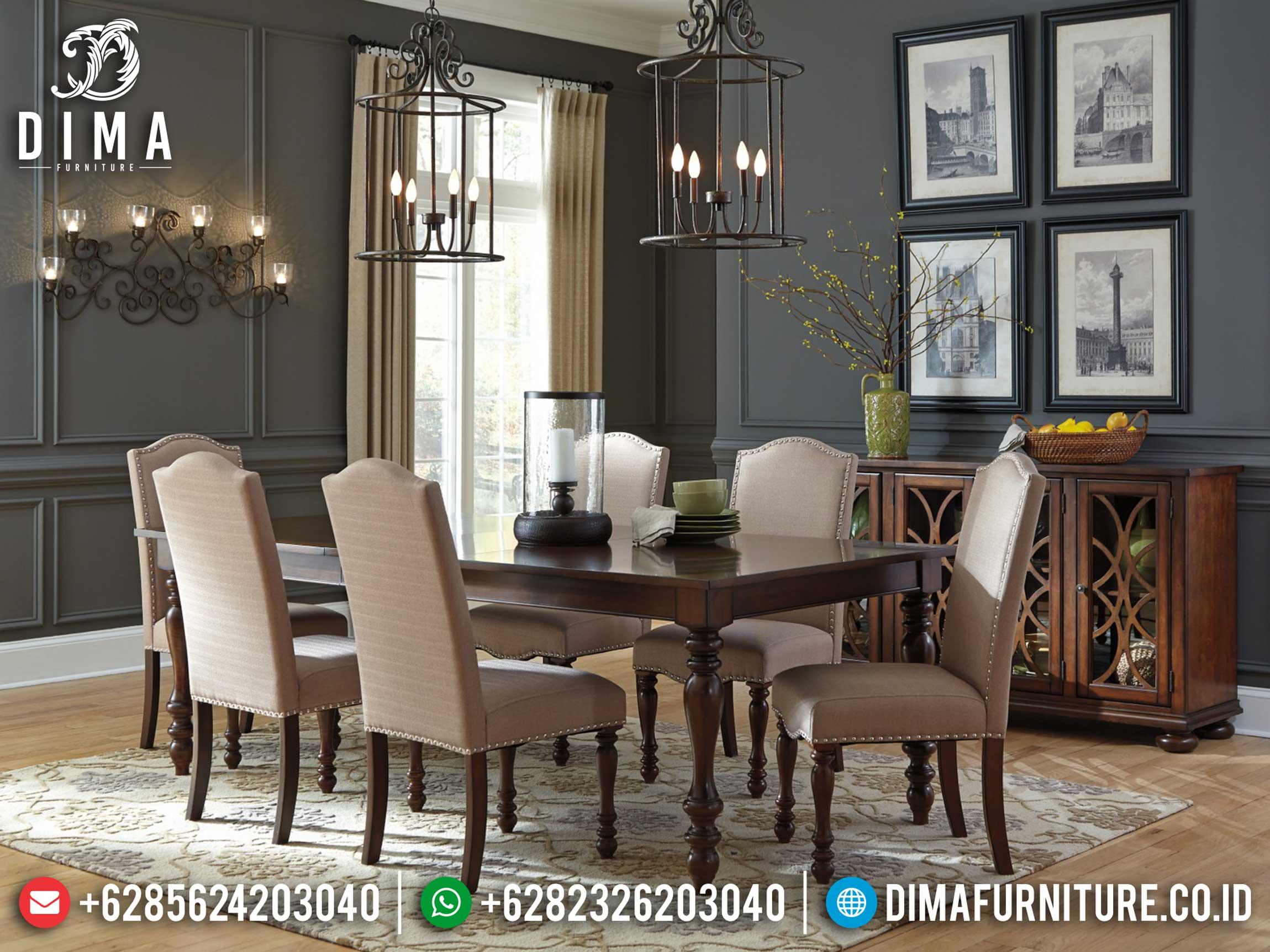 Model Meja Makan Minimalis Jati Klasik Natural Dark Brown Great Solid Wood ST-0922