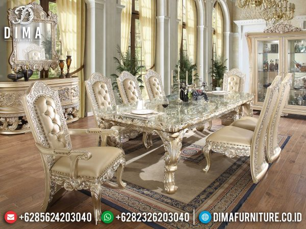 New Meja Makan Mewah Jepara Luxury Carving Grade A Wood Quality ST-0940