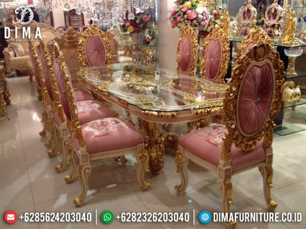 New Meja Makan Mewah Jepara Luxury Carving Italian Empire Style Golden Light ST-0962