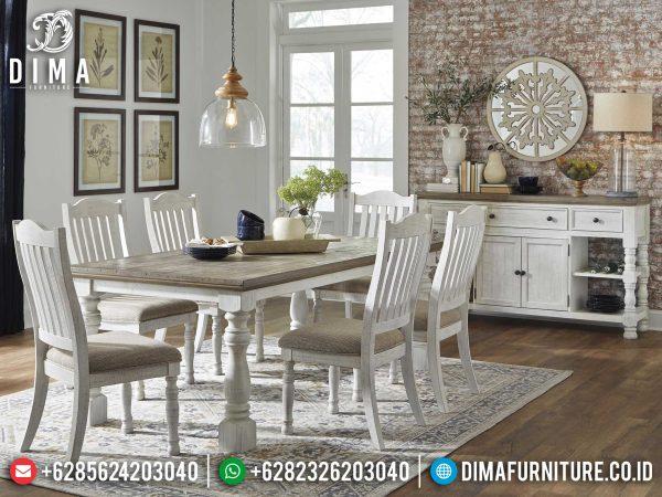New Meja Makan Minimalis Classic Vintage White Duco Luxury Jepara ST-0953