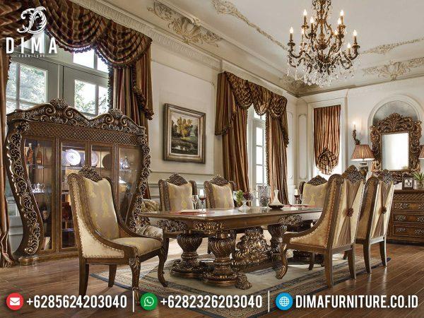 Set Meja Makan Mewah Jepara Luxury Classic Carving Best Desain Item ST-0939